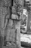 Broken stone Devata, Banteay Kdei temple, Cambodia Royalty Free Stock Images