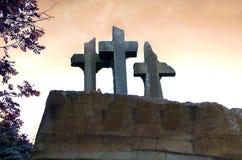 Broken stone gravestone cross sky background stock photography