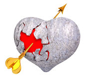 Broken stone heart with red inside it, and Cupid`s arrow, 3d re. Broken stone heart with red inside it, and Cupid`s arrow, isolated 3d rendering Stock Photo