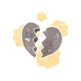 Broken stone heart retro cartoon Royalty Free Stock Photos