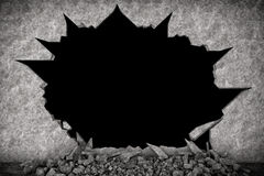 Broken Stone Wall. On a black background Royalty Free Stock Photo