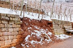 Free Broken Stone Wall In Vineyard Water And Snow Damage. Royalty Free Stock Image - 136583916