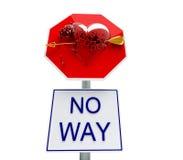 Broken stop heart. Saint valentine sign like road panel Stock Images