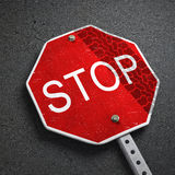 Broken stop sign Royalty Free Stock Photo