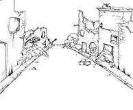Broken street. Creative design of broken street stock illustration