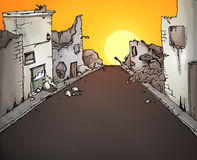 Broken street illustration Stock Images