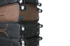 Broken suitcases after fliying with space for text Stock Photo