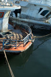 Broken sunken pleasure boat in the water,. Used toning of the photo Stock Images
