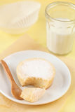 Broken Sweet Sugar Milk Cake on a white plate Royalty Free Stock Image