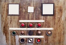 Broken switchboard. Broken control panel, switchboard, with free copy space, grunge Stock Photography