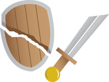 Broken sword and broken shield Stock Photography