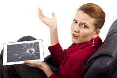 Broken Tablet. Complaining about a broken tablet screen Royalty Free Stock Images