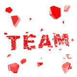 Broken team metaphor, smashed word explosion Royalty Free Stock Photography