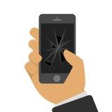 Broken telefon i en hand vektor illustrationer