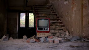 Broken Television in Abandoned House alpha Stock Image