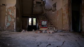 Broken Television in Abandoned House alpha Stock Images