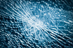Broken tempered glass closeup Royalty Free Stock Photo