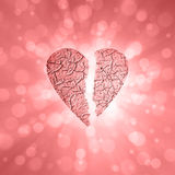 Broken textured red color heart symbol background Royalty Free Stock Photos