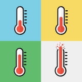 Broken thermometer ( Overheat ) ( Flat design ) Royalty Free Stock Image