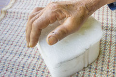 Broken thumb. Of the old woman Royalty Free Stock Photography