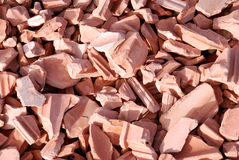 Broken tile. Broken slabs  of fired clay for covering roofs or lining walls or floors Stock Photo