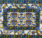 Broken Tile Mosiac. Colorful spanish broken painted tiles mosiac with interesting designs Royalty Free Stock Photos