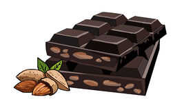Broken tiles half dark chocolate with almonds. Chocolate with whole nuts. Sweet dessert from cacao beans. Bitter chocolate. Milk chocolate. Natural aphrodisiac Royalty Free Stock Photo