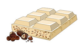 Broken tiles half white chocolate with hazelnuts. Chocolate with crushed nuts. Sweet dessert from cacao beans. Vector. Stock Image