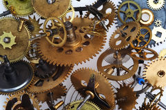 Broken time. Detail (cloe-up) of a clockwork mechanism stock photo