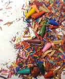 Broken tips of colored pencils. Shavings. stock photo