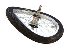 Broken tire. Broken bicycle tire after accident Royalty Free Stock Photography