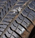 Broken tires. Broken tire flat tire in danger needs to be fixed at body shop Royalty Free Stock Photos