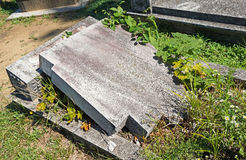 Broken tombstone in the public cemtery Stock Images