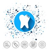 Broken tooth sign icon. Dental care symbol. Button on circles background. Broken tooth icon. Dental care sign symbol. Calendar line icon. And more line signs Royalty Free Stock Photo