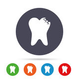 Broken tooth sign icon. Dental care symbol. Royalty Free Stock Photos
