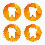 Broken tooth sign icon. Dental care symbol. Royalty Free Stock Image