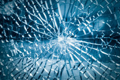 Broken toughened glass closeup Royalty Free Stock Images