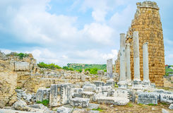 The broken tower in Perge Stock Photo