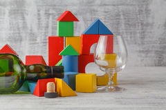 Broken toy cubes crashed tower Royalty Free Stock Photography