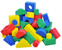 Broken toy cubes crashed tower Royalty Free Stock Image