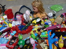 Broken toys at a flea market Stock Images