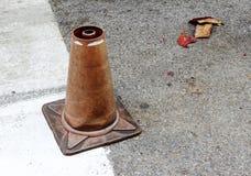 Broken traffic cone Royalty Free Stock Image