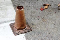 Broken traffic cone Royalty Free Stock Photos