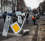 Broken traffic light after collisions Stock Photo