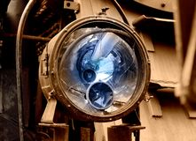 Broken train locomotive lamp reflector Stock Photography