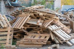Free Broken Trash Broken Furniture Wood Garbage. Wooden Waste Dumped Beside A Road Royalty Free Stock Photography - 159444747
