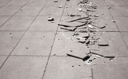broken trottoar Arkivfoto