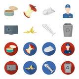 Broken TV monitor, banana peel, fish skeleton, garbage bin. Garbage and trash set collection icons in cartoon,flat style. Vector symbol stock illustration Stock Photo