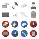 Broken TV monitor, banana peel, fish skeleton, garbage bin. Garbage and trash set collection icons in monochrome,flat. Style vector symbol stock illustration Stock Image