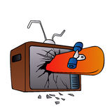 Broken tv screen with skateboard Stock Photo